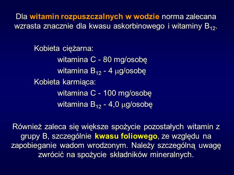 Dla witamin rozpuszczalnych w wodzie norma zalecana wzrasta znacznie dla kwasu askorbinowego i witaminy B 12. Kobieta ciężarna: witamina C - 80 mg/oso