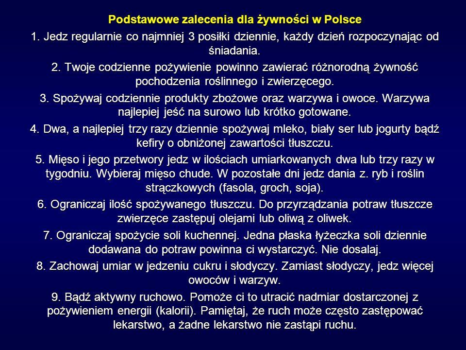 Podstawowe zalecenia dla żywności w Polsce 1. Jedz regularnie co najmniej 3 posiłki dziennie, każdy dzień rozpoczynając od śniadania. 2. Twoje codzien