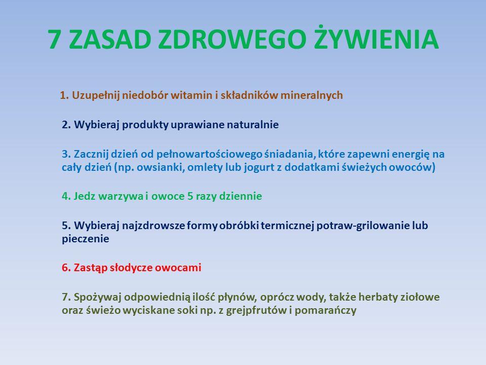 7 ZASAD ZDROWEGO ŻYWIENIA 1. Uzupełnij niedobór witamin i składników mineralnych 2.