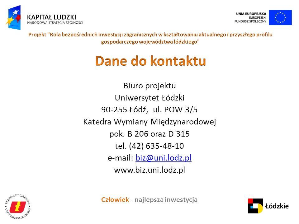 Człowiek - najlepsza inwestycja Projekt Rola bezpośrednich inwestycji zagranicznych w kształtowaniu aktualnego i przyszłego profilu gospodarczego województwa łódzkiego Biuro projektu Uniwersytet Łódzki 90-255 Łódź, ul.