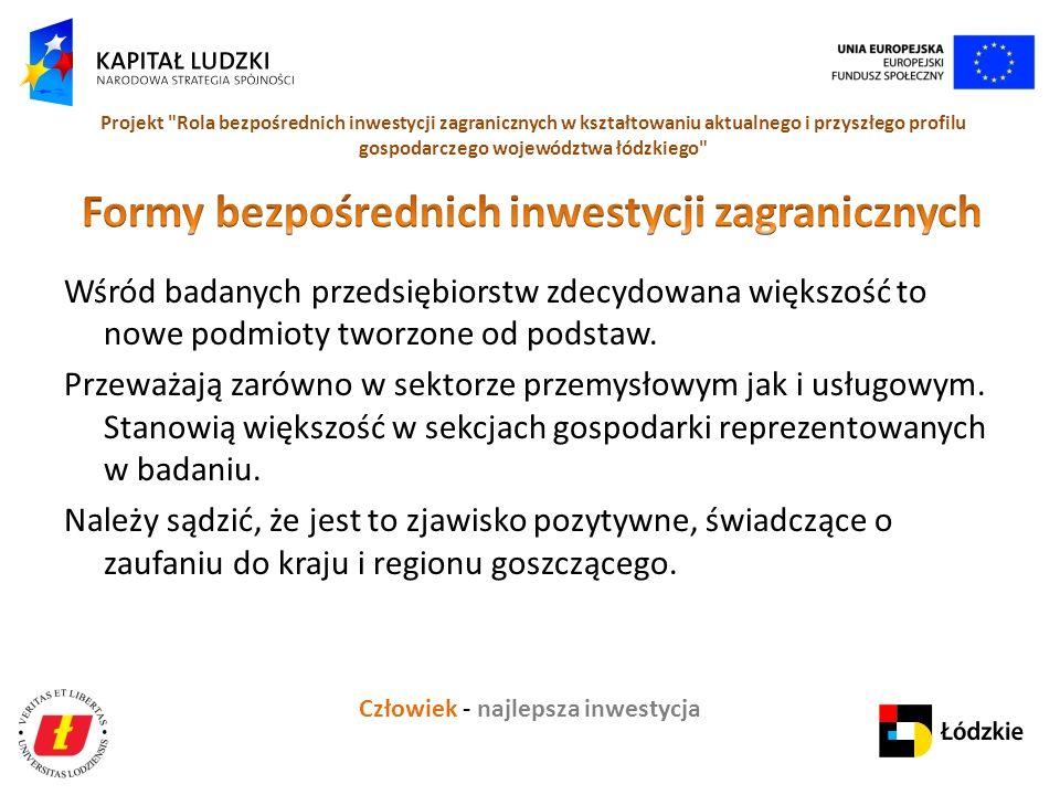 Człowiek - najlepsza inwestycja Projekt Rola bezpośrednich inwestycji zagranicznych w kształtowaniu aktualnego i przyszłego profilu gospodarczego województwa łódzkiego Wśród badanych przedsiębiorstw zdecydowana większość to nowe podmioty tworzone od podstaw.