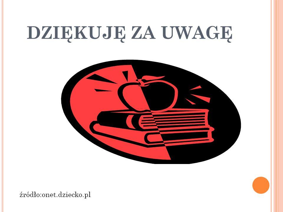 DZIĘKUJĘ ZA UWAGĘ źródło:onet.dziecko.pl