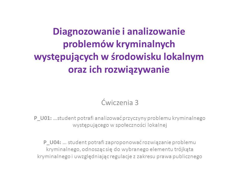 Diagnozowanie i analizowanie problemów kryminalnych występujących w środowisku lokalnym oraz ich rozwiązywanie Ćwiczenia 3 P_U01: …student potrafi analizować przyczyny problemu kryminalnego występującego w społeczności lokalnej P_U04: … student potrafi zaproponować rozwiązanie problemu kryminalnego, odnosząc się do wybranego elementu trójkąta kryminalnego i uwzględniając regulacje z zakresu prawa publicznego