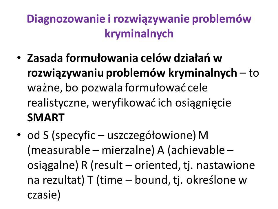 Diagnozowanie i rozwiązywanie problemów kryminalnych Zasada formułowania celów działań w rozwiązywaniu problemów kryminalnych – to ważne, bo pozwala formułować cele realistyczne, weryfikować ich osiągnięcie SMART od S (specyfic – uszczegółowione) M (measurable – mierzalne) A (achievable – osiągalne) R (result – oriented, tj.