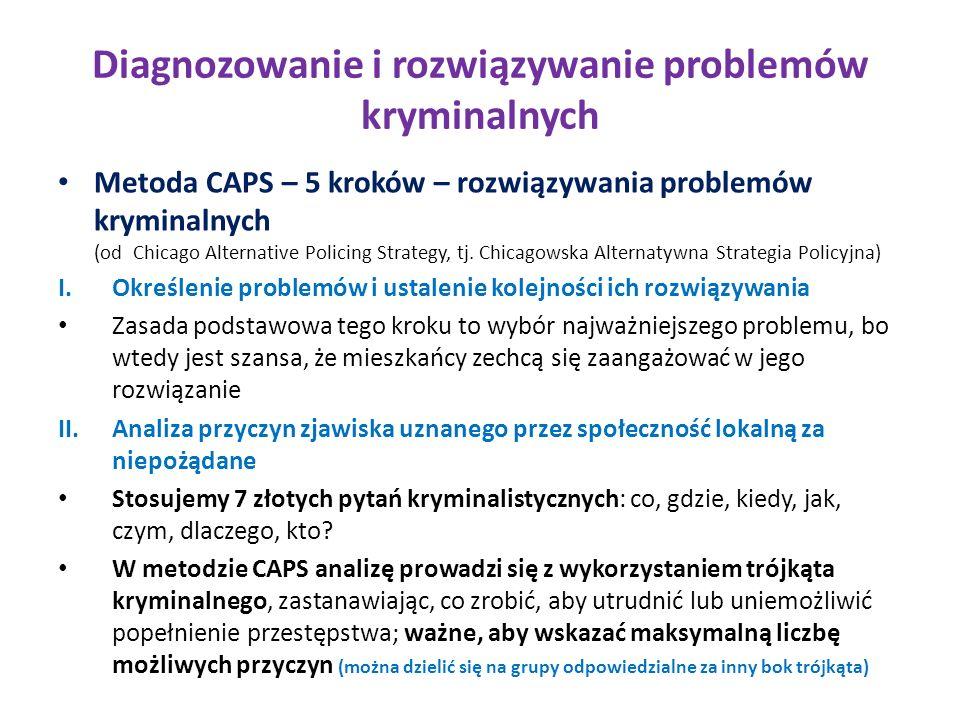 Diagnozowanie i rozwiązywanie problemów kryminalnych Metoda CAPS – 5 kroków – rozwiązywania problemów kryminalnych (od Chicago Alternative Policing Strategy, tj.
