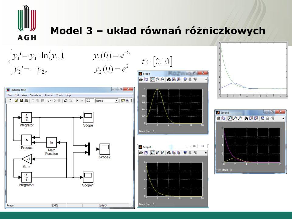 Model 3 – układ równań różniczkowych