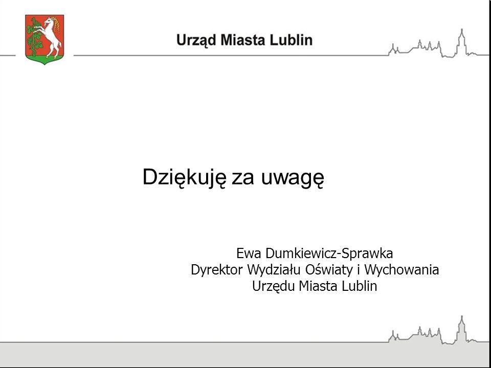 Dziękuję za uwagę Ewa Dumkiewicz-Sprawka Dyrektor Wydziału Oświaty i Wychowania Urzędu Miasta Lublin