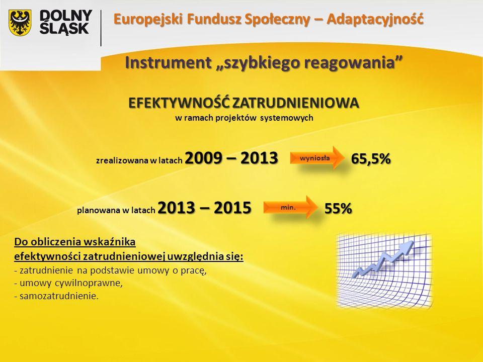 """Instrument """"szybkiego reagowania EFEKTYWNOŚĆ ZATRUDNIENIOWA w ramach projektów systemowych 2009 – 2013 65,5% zrealizowana w latach 2009 – 2013 65,5% 2013 – 2015 55% planowana w latach 2013 – 2015 55% Do obliczenia wskaźnika efektywności zatrudnieniowej uwzględnia się: - zatrudnienie na podstawie umowy o pracę, - umowy cywilnoprawne, - samozatrudnienie."""