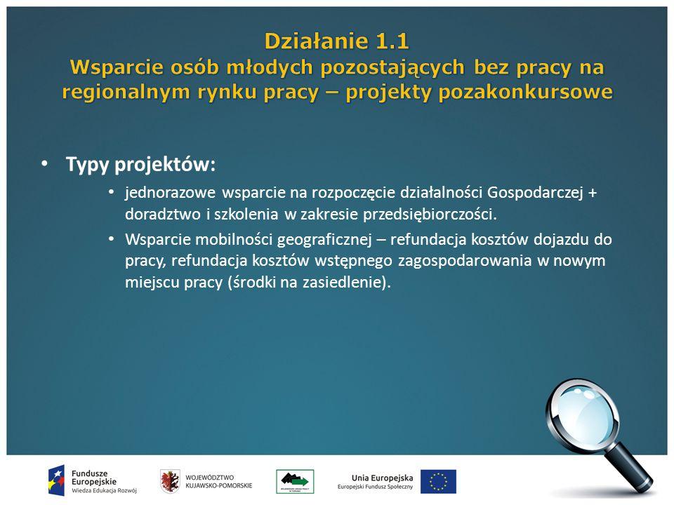 Typy projektów: jednorazowe wsparcie na rozpoczęcie działalności Gospodarczej + doradztwo i szkolenia w zakresie przedsiębiorczości.
