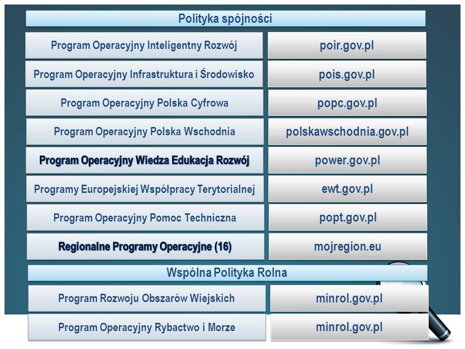 Program Operacyjny Inteligentny Rozwój Program Operacyjny Infrastruktura i Środowisko Program Operacyjny Polska Cyfrowa Program Operacyjny Polska Wschodnia Programy Europejskiej Współpracy Terytorialnej Program Operacyjny Pomoc Techniczna Polityka spójności Wspólna Polityka Rolna poir.gov.pl pois.gov.pl popc.gov.pl polskawschodnia.gov.pl power.gov.pl ewt.gov.pl popt.gov.pl mojregion.eu Program Rozwoju Obszarów Wiejskich Program Operacyjny Rybactwo i Morze minrol.gov.pl