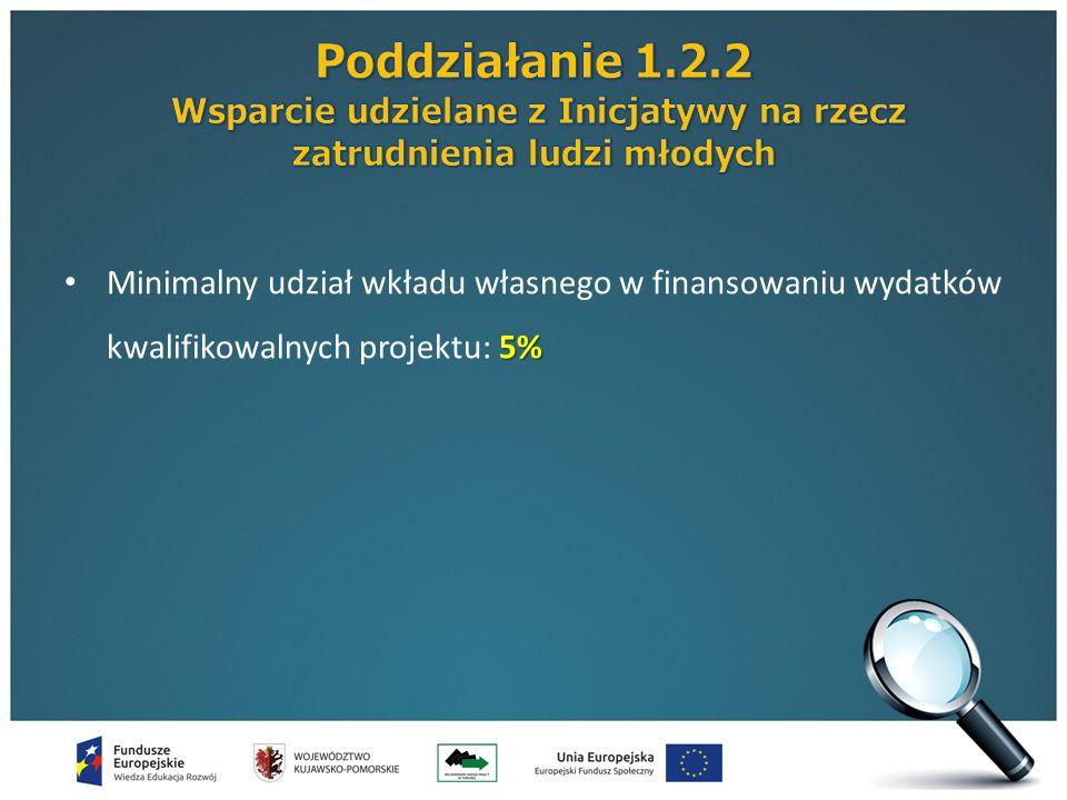 5% Minimalny udział wkładu własnego w finansowaniu wydatków kwalifikowalnych projektu: 5%