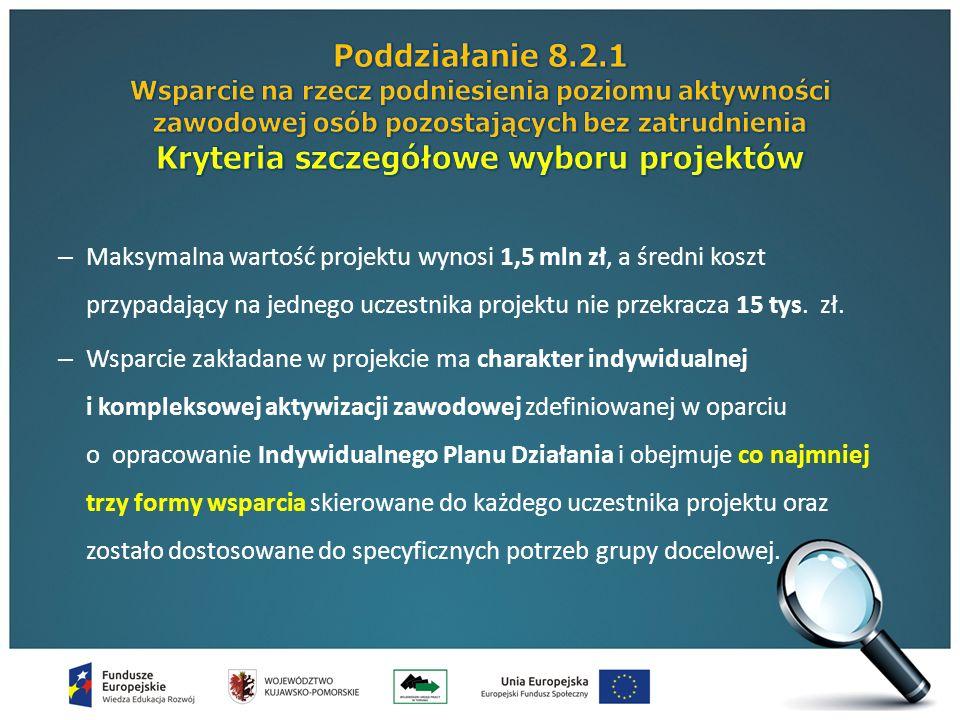 – Maksymalna wartość projektu wynosi 1,5 mln zł, a średni koszt przypadający na jednego uczestnika projektu nie przekracza 15 tys.