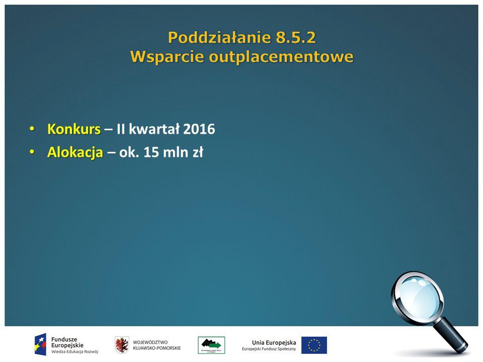 Konkurs Konkurs – II kwartał 2016 Alokacja Alokacja – ok. 15 mln zł