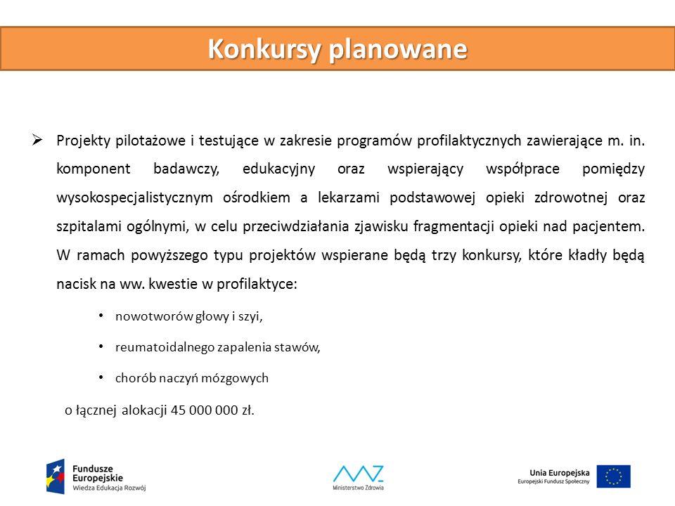 Konkursy planowane  Projekty pilotażowe i testujące w zakresie programów profilaktycznych zawierające m.