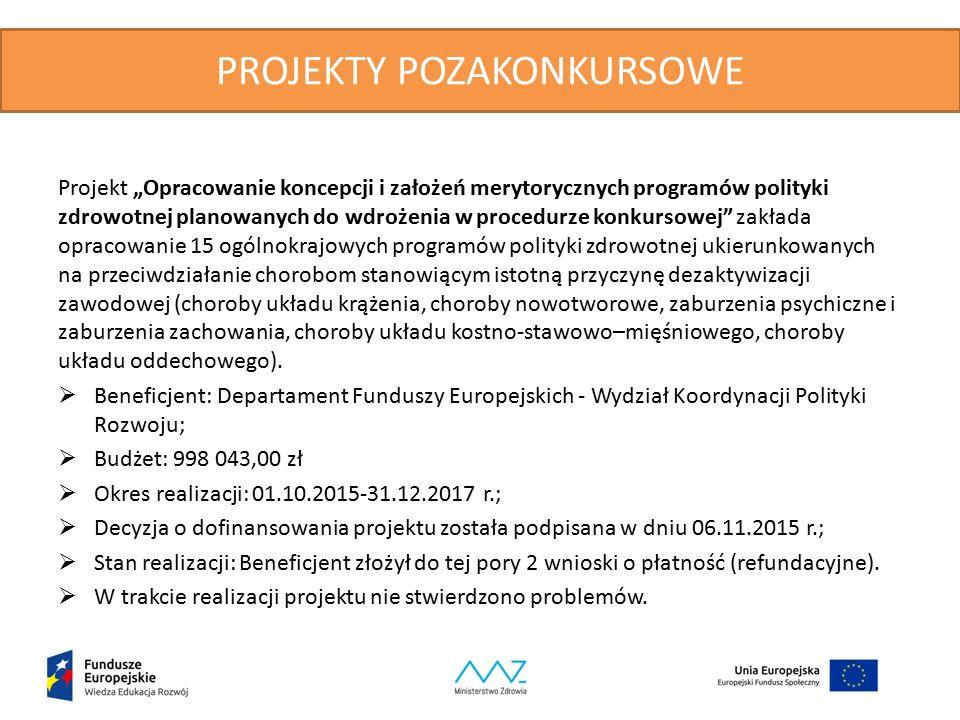 """PROJEKTY POZAKONKURSOWE Projekt """"Opracowanie koncepcji i założeń merytorycznych programów polityki zdrowotnej planowanych do wdrożenia w procedurze ko"""