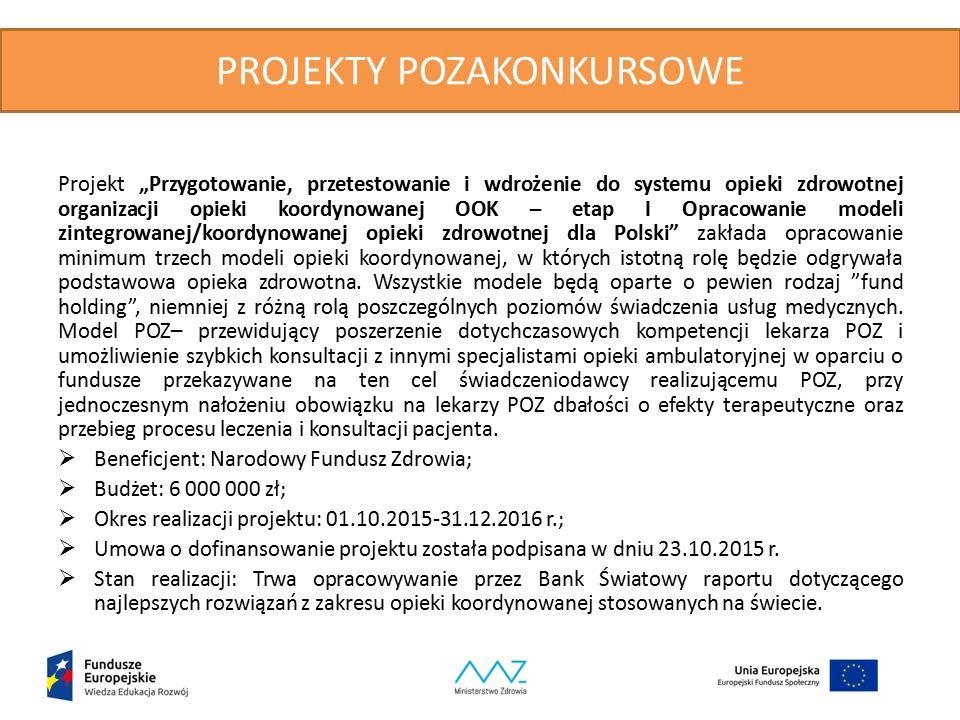 """PROJEKTY POZAKONKURSOWE Projekt """"Przygotowanie, przetestowanie i wdrożenie do systemu opieki zdrowotnej organizacji opieki koordynowanej OOK – etap I Opracowanie modeli zintegrowanej/koordynowanej opieki zdrowotnej dla Polski zakłada opracowanie minimum trzech modeli opieki koordynowanej, w których istotną rolę będzie odgrywała podstawowa opieka zdrowotna."""