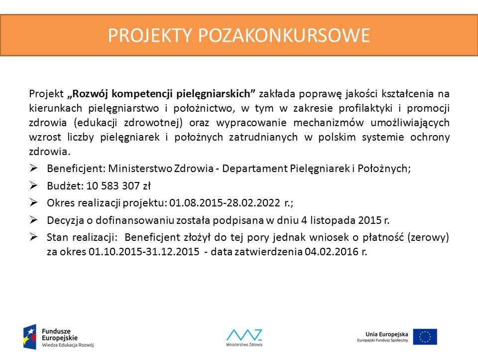 """PROJEKTY POZAKONKURSOWE Projekt """"Rozwój kompetencji pielęgniarskich zakłada poprawę jakości kształcenia na kierunkach pielęgniarstwo i położnictwo, w tym w zakresie profilaktyki i promocji zdrowia (edukacji zdrowotnej) oraz wypracowanie mechanizmów umożliwiających wzrost liczby pielęgniarek i położnych zatrudnianych w polskim systemie ochrony zdrowia."""