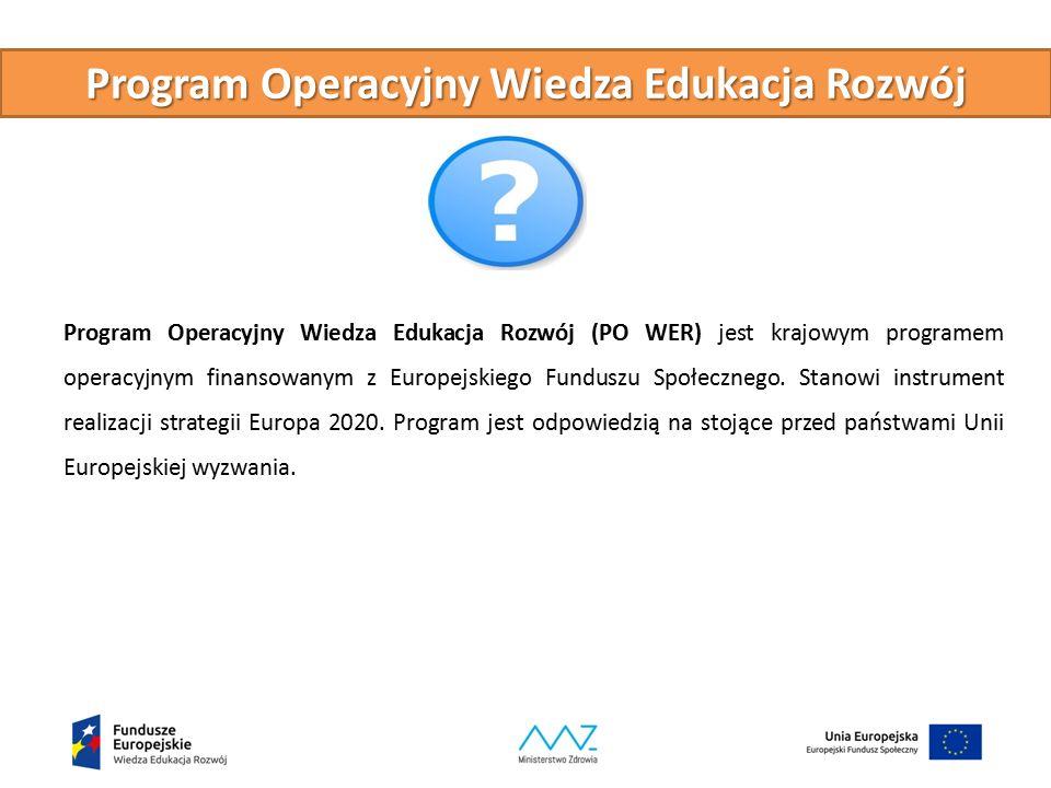 Program Operacyjny Wiedza Edukacja Rozwój Program Operacyjny Wiedza Edukacja Rozwój (PO WER) jest krajowym programem operacyjnym finansowanym z Europejskiego Funduszu Społecznego.