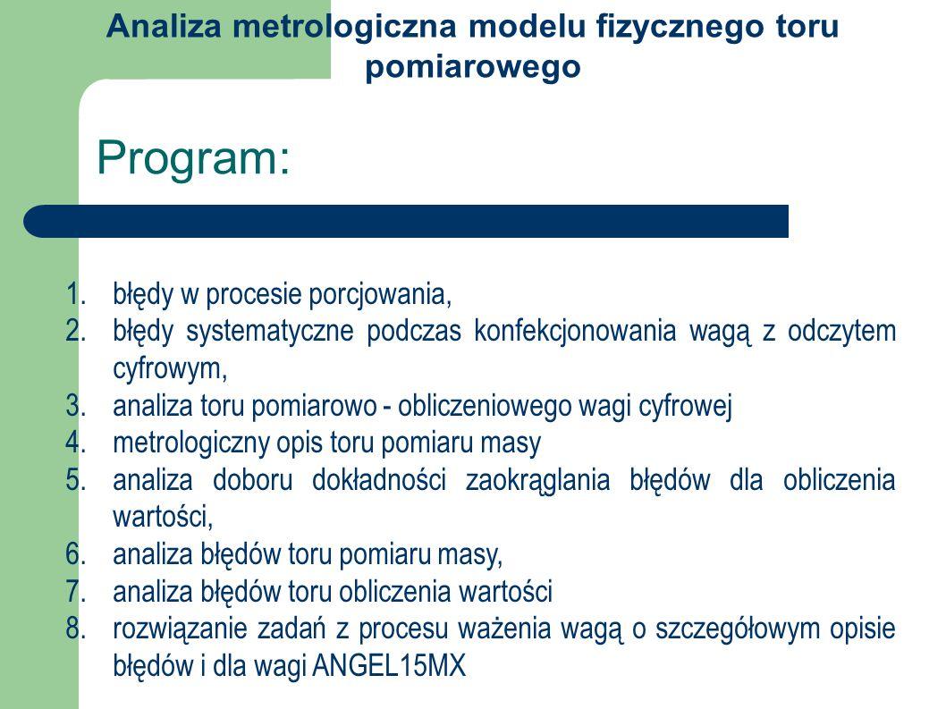 Program: 1.błędy w procesie porcjowania, 2.błędy systematyczne podczas konfekcjonowania wagą z odczytem cyfrowym, 3.analiza toru pomiarowo - obliczeniowego wagi cyfrowej 4.metrologiczny opis toru pomiaru masy 5.analiza doboru dokładności zaokrąglania błędów dla obliczenia wartości, 6.analiza błędów toru pomiaru masy, 7.analiza błędów toru obliczenia wartości 8.rozwiązanie zadań z procesu ważenia wagą o szczegółowym opisie błędów i dla wagi ANGEL15MX Analiza metrologiczna modelu fizycznego toru pomiarowego