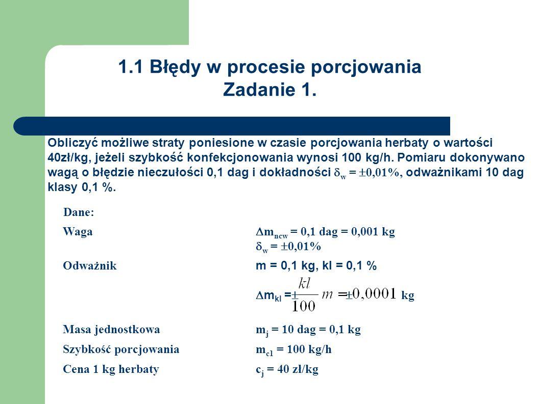 1.1 Błędy w procesie porcjowania Zadanie 1. Obliczyć możliwe straty poniesione w czasie porcjowania herbaty o wartości 40zł/kg, jeżeli szybkość konfek