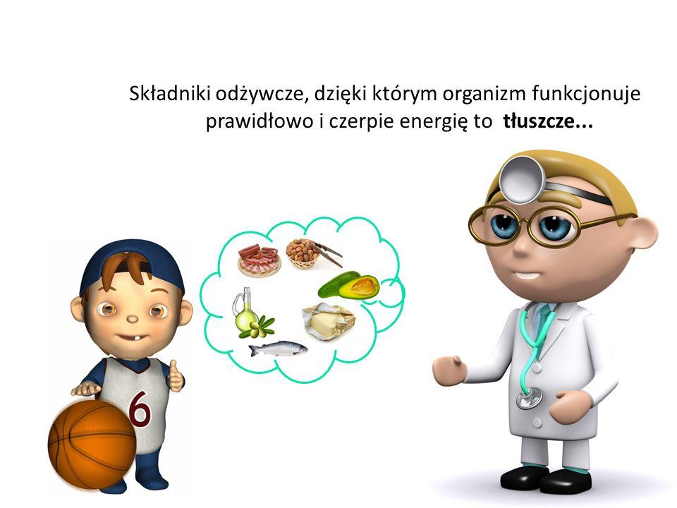 Składniki odżywcze, dzięki którym organizm funkcjonuje prawidłowo i czerpie energię to tłuszcze...