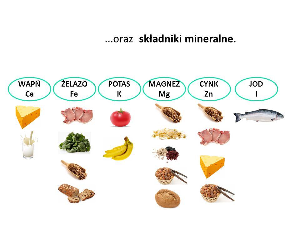 ...oraz składniki mineralne. WAPŃ Ca ŻELAZO Fe POTAS K MAGNEZ Mg CYNK Zn JOD I