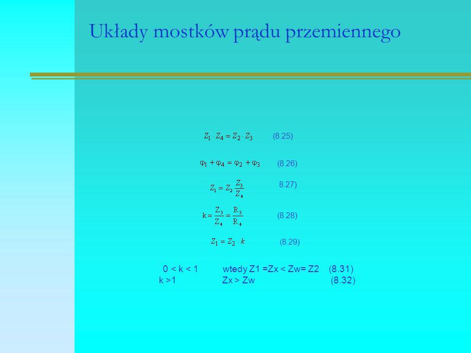 Układy mostków prądu przemiennego (8.25) (8.26) 8.27) (8.28) (8.29) 0 < k < 1 wtedy Z1 =Zx < Zw= Z2 (8.31) k >1 Zx > Zw (8.32)