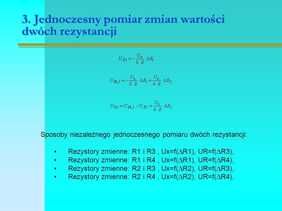 3. Jednoczesny pomiar zmian wartości dwóch rezystancji Sposoby niezależnego jednoczesnego pomiaru dwóch rezystancji: Rezystory zmienne: R1 i R3, Ux=f(