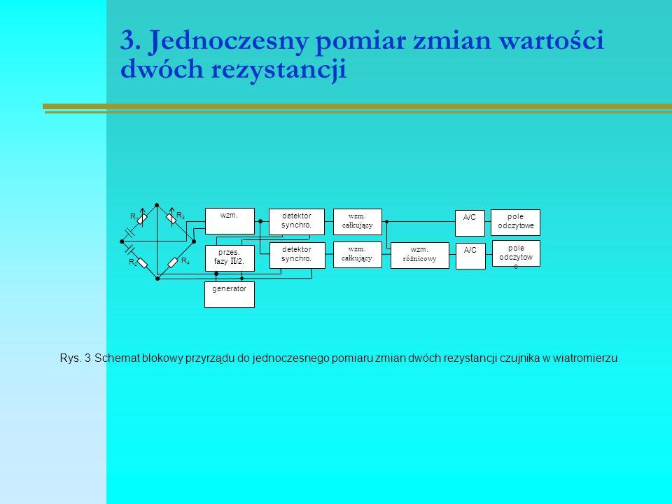3. Jednoczesny pomiar zmian wartości dwóch rezystancji detektor synchro.