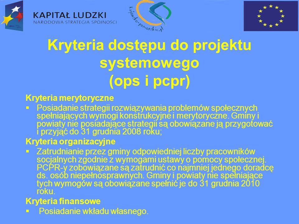 Kryteria dostępu do projektu systemowego (ops i pcpr) Kryteria merytoryczne  Posiadanie strategii rozwiązywania problemów społecznych spełniających wymogi konstrukcyjne i merytoryczne.