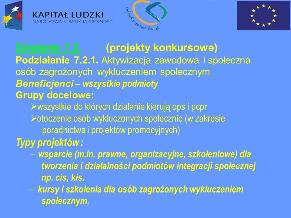 Działanie 7.2. (projekty konkursowe) Podziałanie 7.2.1.