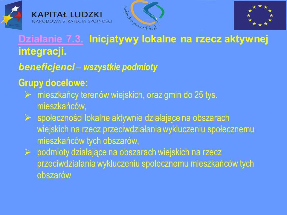 Działanie 7.3. Inicjatywy lokalne na rzecz aktywnej integracji.
