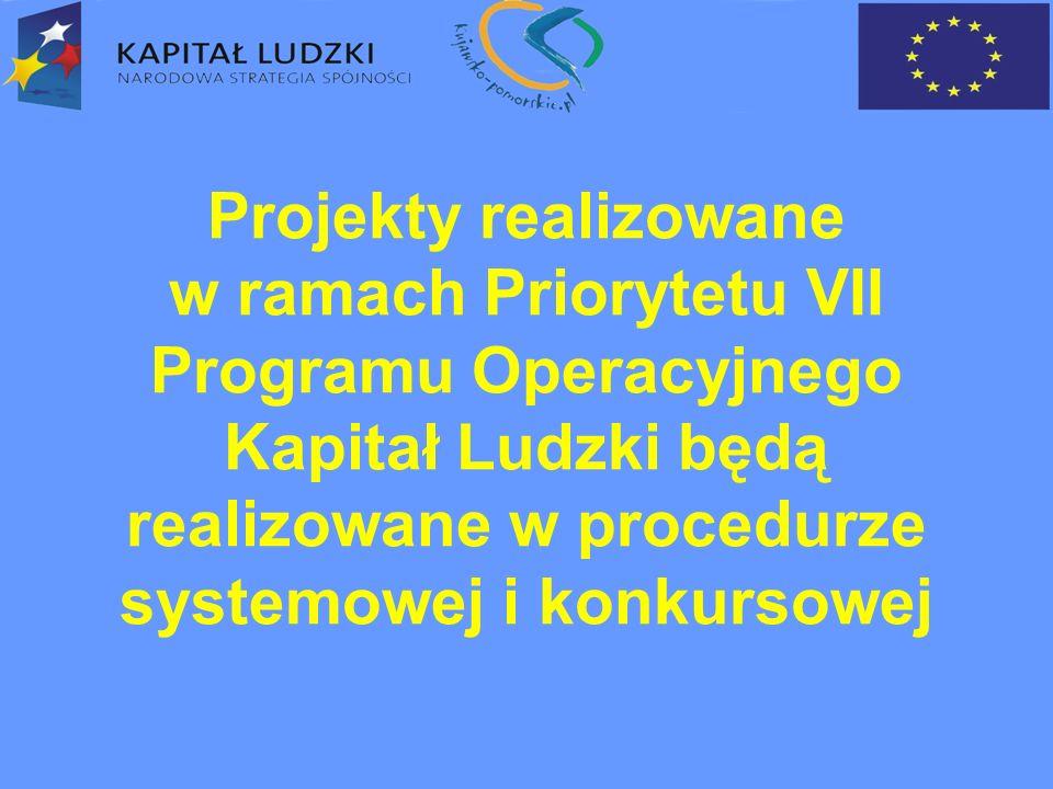 Projekty realizowane w ramach Priorytetu VII Programu Operacyjnego Kapitał Ludzki będą realizowane w procedurze systemowej i konkursowej