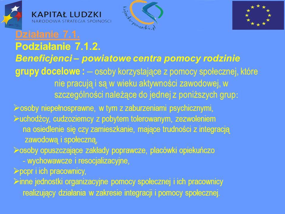 Działanie 7.1.Podziałanie 7.1.2 – cd.