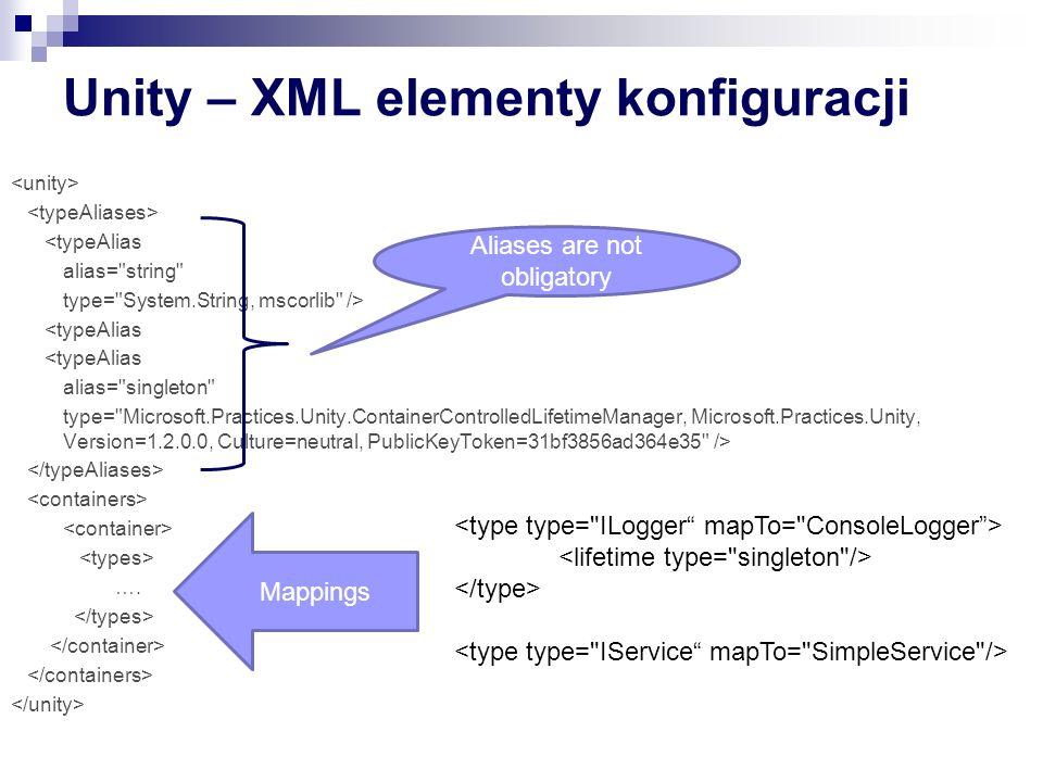 Unity – XML elementy konfiguracji <typeAlias alias= string type= System.String, mscorlib /> <typeAlias alias= singleton type= Microsoft.Practices.Unity.ContainerControlledLifetimeManager, Microsoft.Practices.Unity, Version=1.2.0.0, Culture=neutral, PublicKeyToken=31bf3856ad364e35 /> ….
