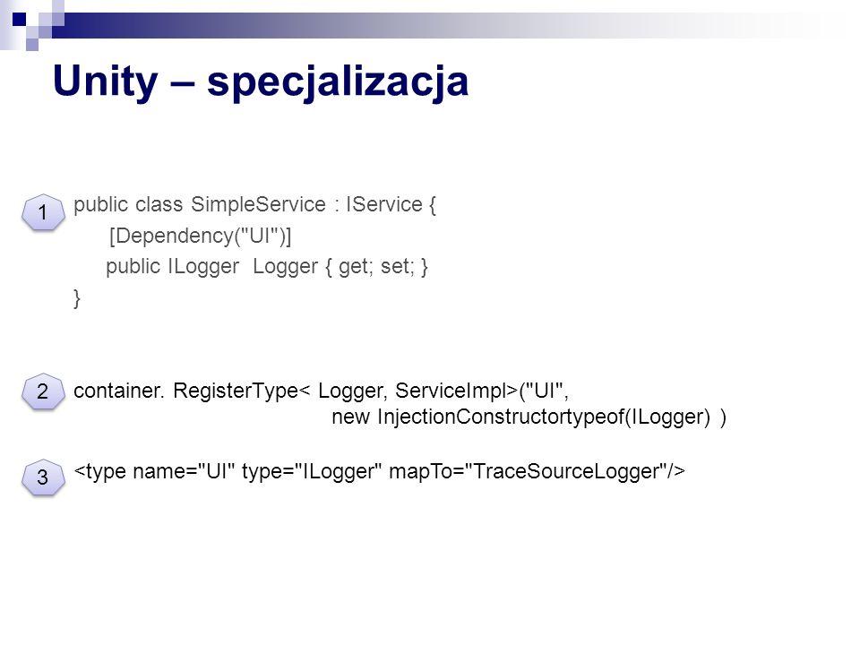Unity – specjalizacja public class SimpleService : IService { [Dependency(