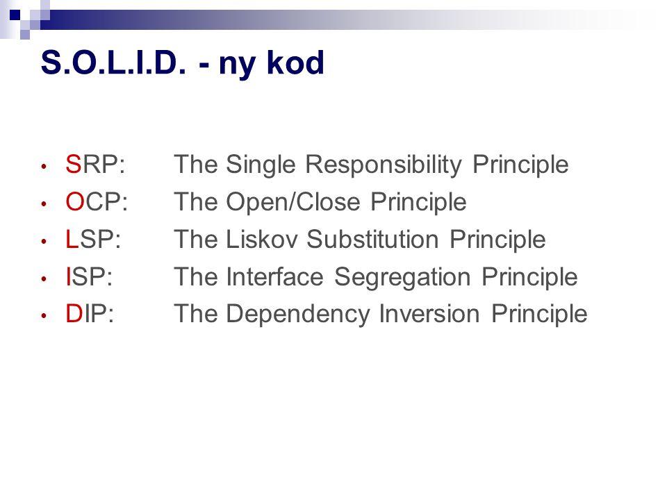 S.O.L.I.D. - ny kod SRP: The Single Responsibility Principle OCP: The Open/Close Principle LSP: The Liskov Substitution Principle ISP: The Interface S