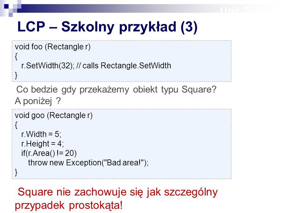Unit Testing void foo (Rectangle r) { r.SetWidth(32); // calls Rectangle.SetWidth } Co bedzie gdy przekażemy obiekt typu Square.