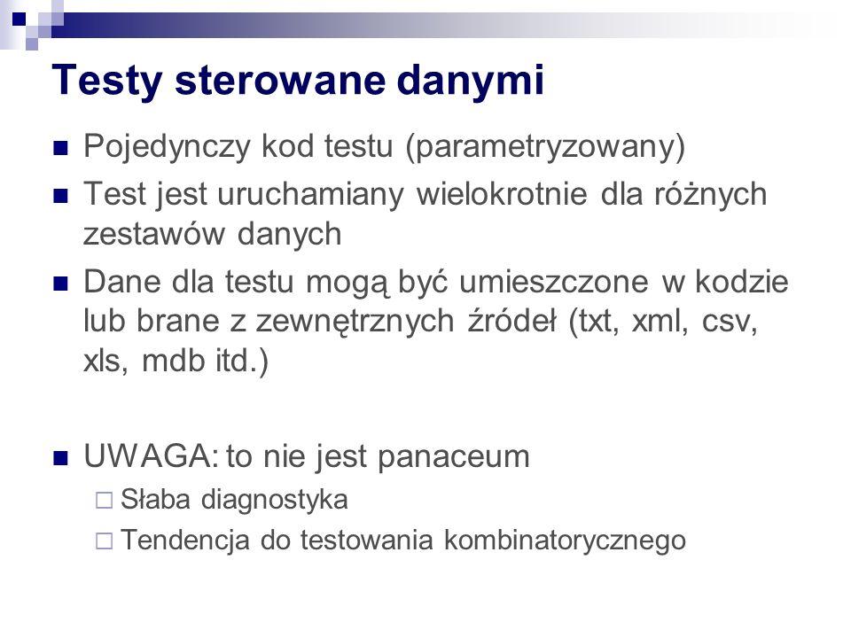 Testy sterowane danymi Pojedynczy kod testu (parametryzowany) Test jest uruchamiany wielokrotnie dla różnych zestawów danych Dane dla testu mogą być umieszczone w kodzie lub brane z zewnętrznych źródeł (txt, xml, csv, xls, mdb itd.) UWAGA: to nie jest panaceum  Słaba diagnostyka  Tendencja do testowania kombinatorycznego