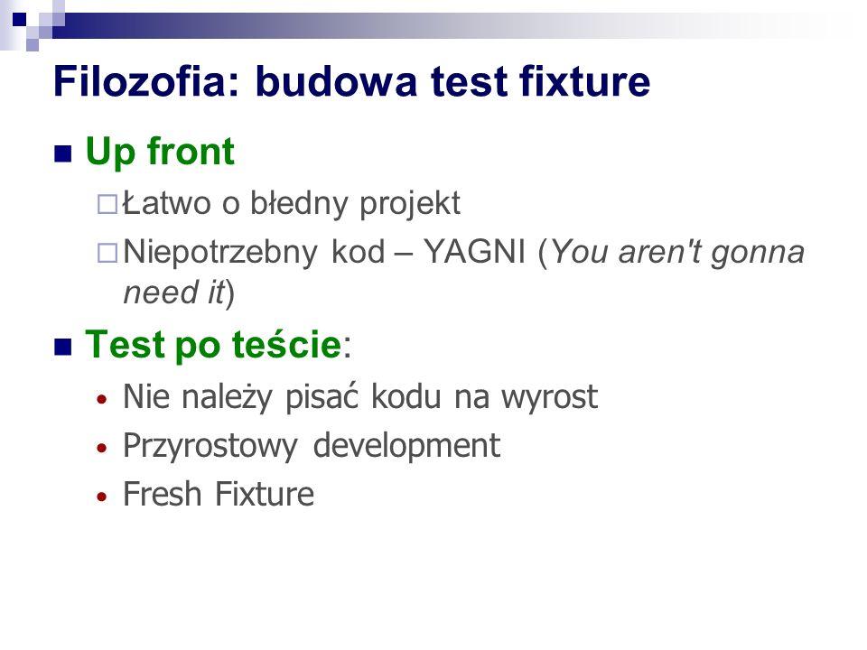 Filozofia: budowa test fixture Up front  Łatwo o błedny projekt  Niepotrzebny kod – YAGNI (You aren t gonna need it) Test po teście: Nie należy pisać kodu na wyrost Przyrostowy development Fresh Fixture