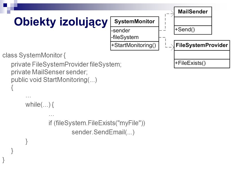 Obiekty izolujący class SystemMonitor { private FileSystemProvider fileSystem; private MailSenser sender; public void StartMonitoring(...) {...