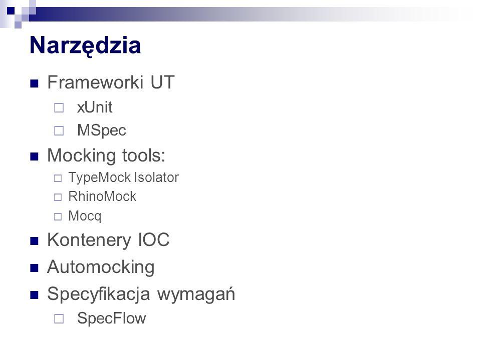 Narzędzia Frameworki UT  xUnit  MSpec Mocking tools:  TypeMock Isolator  RhinoMock  Mocq Kontenery IOC Automocking Specyfikacja wymagań  SpecFlow