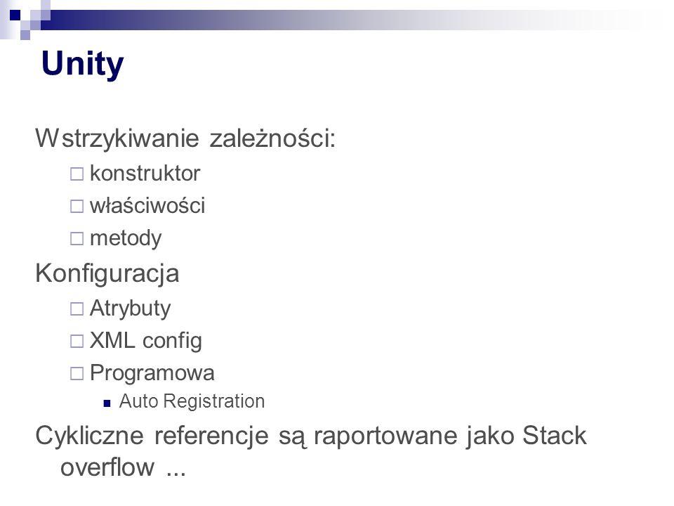 Unity Wstrzykiwanie zależności:  konstruktor  właściwości  metody Konfiguracja  Atrybuty  XML config  Programowa Auto Registration Cykliczne referencje są raportowane jako Stack overflow...