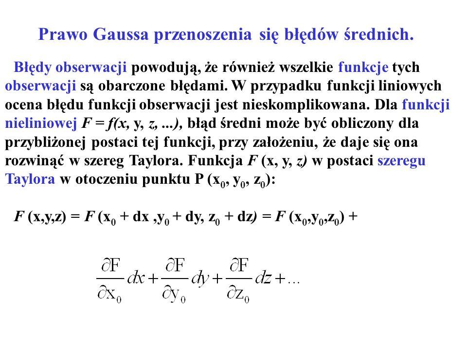 Prawo Gaussa przenoszenia się błędów średnich.