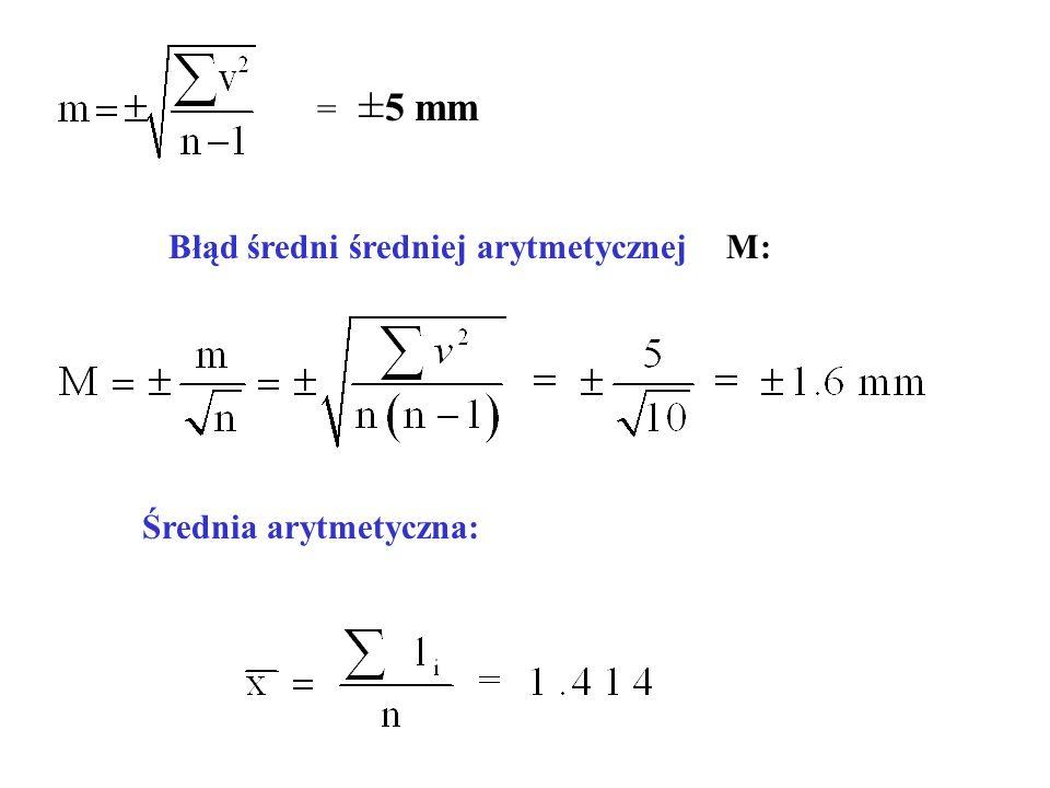= ± 5 mm Błąd średni średniej arytmetycznej M: Średnia arytmetyczna: