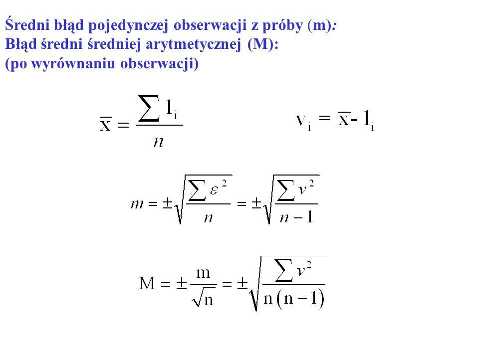 Średni błąd pojedynczej obserwacji z próby (m): Błąd średni średniej arytmetycznej (M): (po wyrównaniu obserwacji)