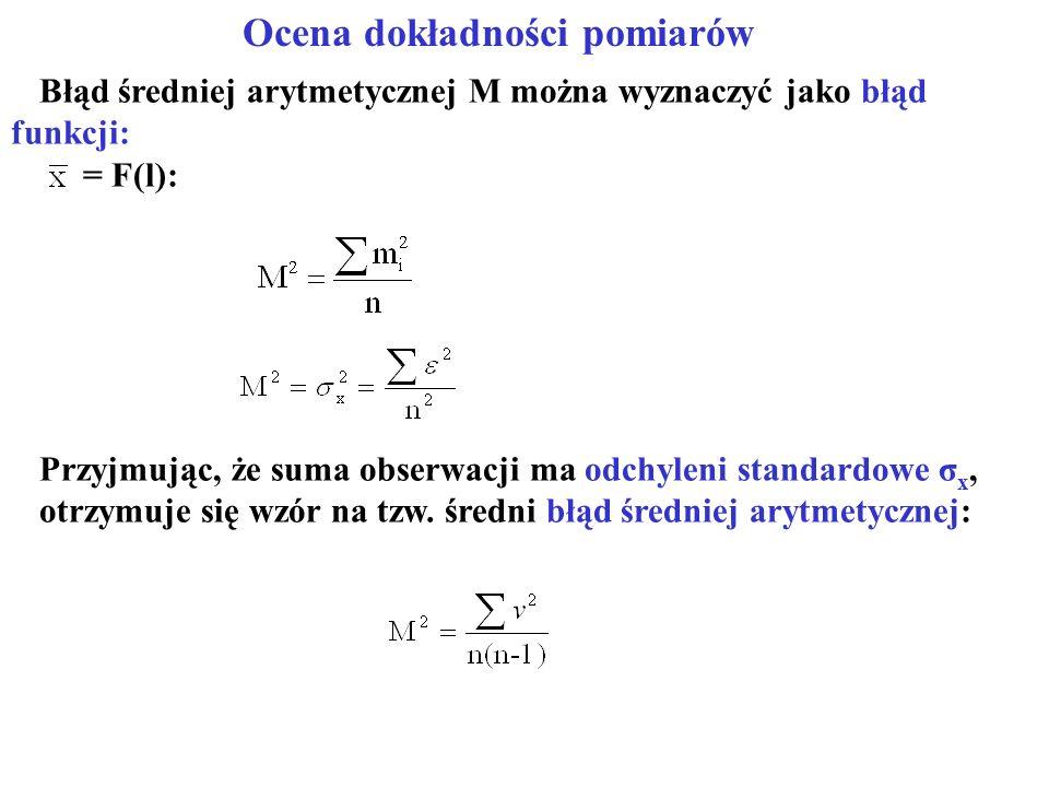 Ocena dokładności pomiarów Błąd średniej arytmetycznej M można wyznaczyć jako błąd funkcji: = F(l): Przyjmując, że suma obserwacji ma odchyleni standardowe σ x, otrzymuje się wzór na tzw.