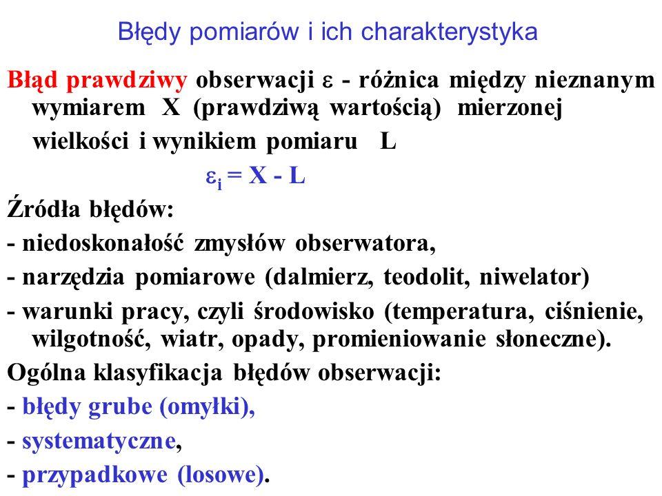 Błędy pomiarów i ich charakterystyka Błąd prawdziwy obserwacji  - różnica między nieznanym wymiarem X (prawdziwą wartością) mierzonej wielkości i wynikiem pomiaru L  i = X - L Źródła błędów: - niedoskonałość zmysłów obserwatora, - narzędzia pomiarowe (dalmierz, teodolit, niwelator) - warunki pracy, czyli środowisko (temperatura, ciśnienie, wilgotność, wiatr, opady, promieniowanie słoneczne).