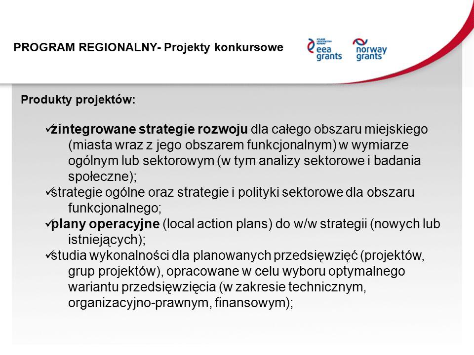 PROGRAM REGIONALNY- Projekty konkursowe Produkty projektów: zintegrowane strategie rozwoju dla całego obszaru miejskiego (miasta wraz z jego obszarem funkcjonalnym) w wymiarze ogólnym lub sektorowym (w tym analizy sektorowe i badania społeczne); strategie ogólne oraz strategie i polityki sektorowe dla obszaru funkcjonalnego; plany operacyjne (local action plans) do w/w strategii (nowych lub istniejących); studia wykonalności dla planowanych przedsięwzięć (projektów, grup projektów), opracowane w celu wyboru optymalnego wariantu przedsięwzięcia (w zakresie technicznym, organizacyjno-prawnym, finansowym);