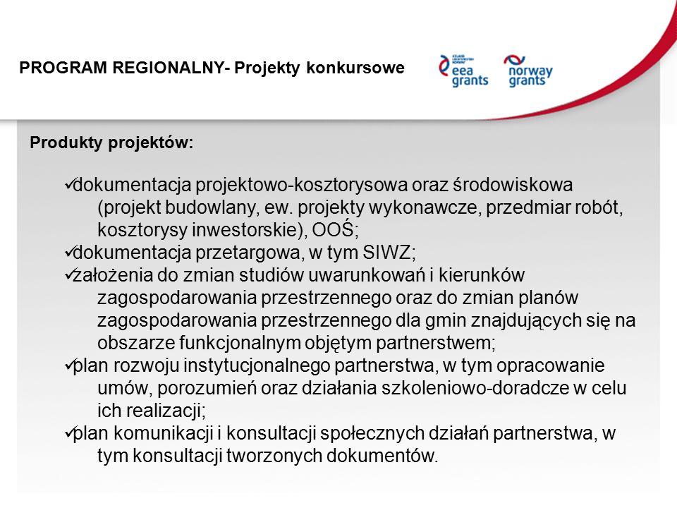 PROGRAM REGIONALNY- Projekty konkursowe Produkty projektów: dokumentacja projektowo-kosztorysowa oraz środowiskowa (projekt budowlany, ew.